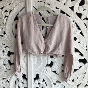 CROPPED BLUSH LONG SLEEVE TOP